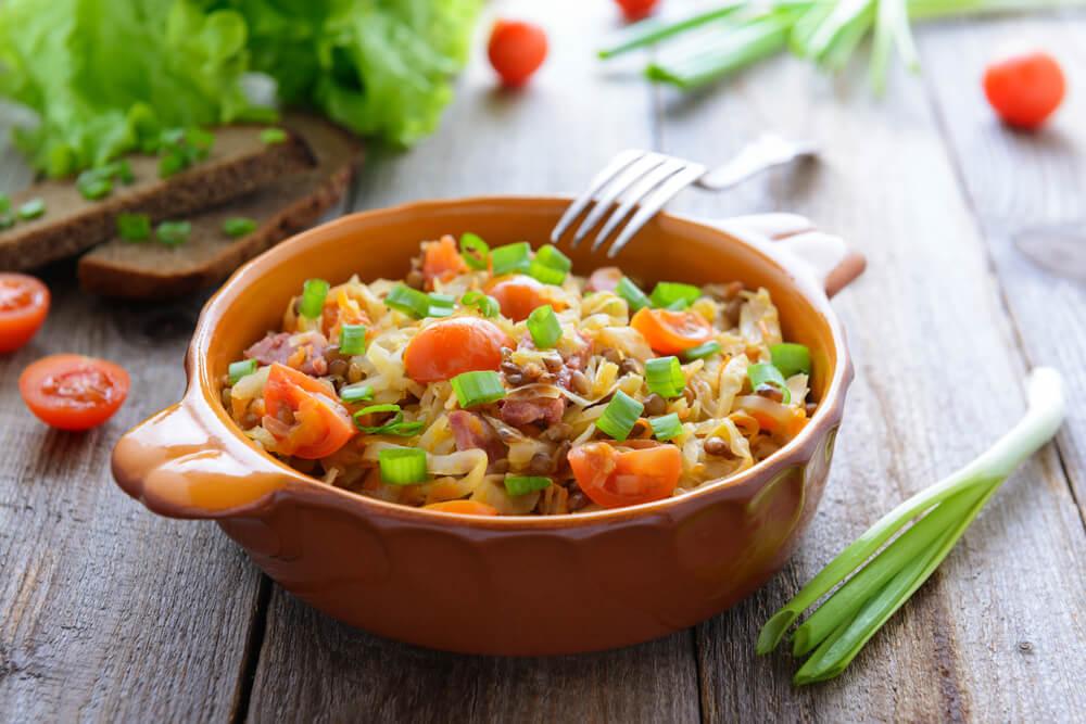 Овощное рагу приготовленное на пару